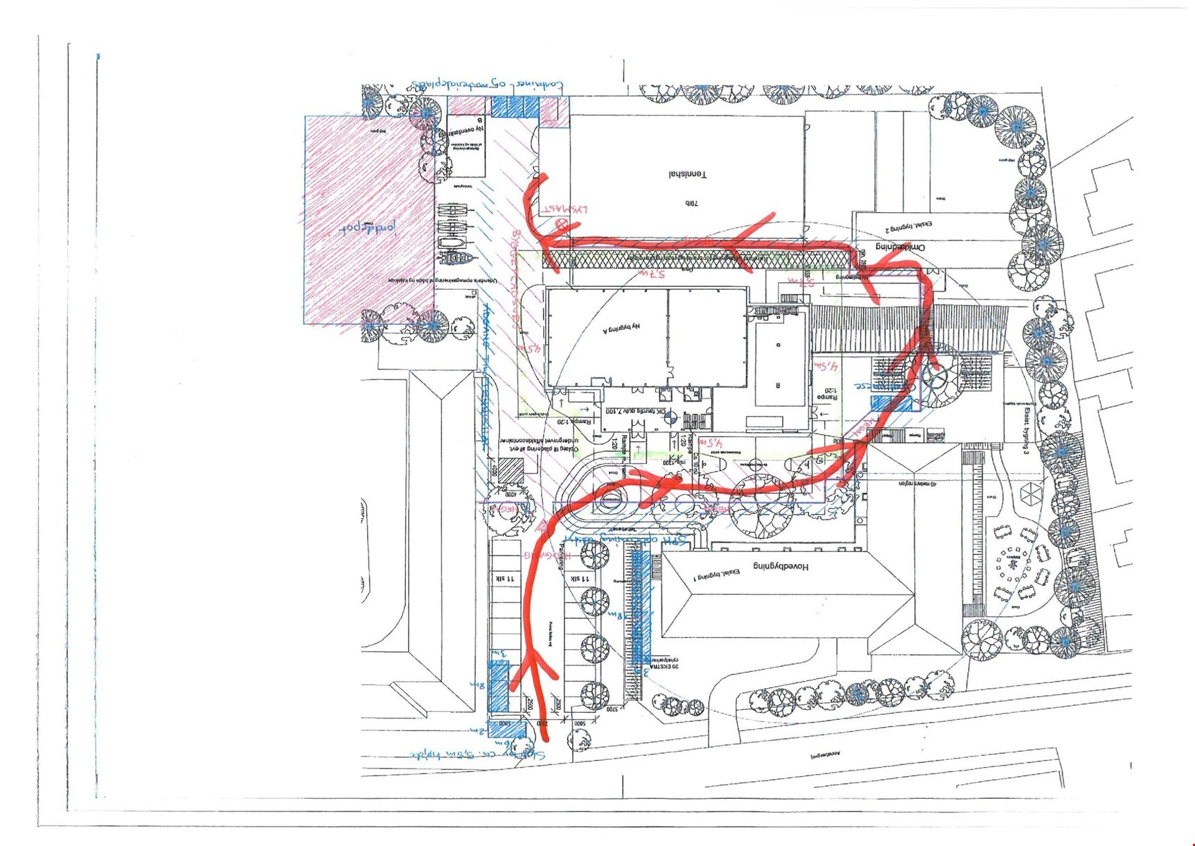 Ændring af adgangsvej til Anneberghallen